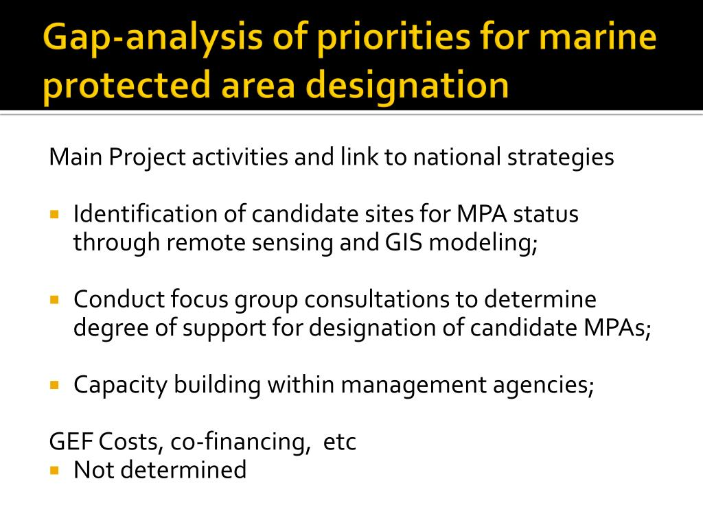Gap-analysis of priorities for marine protected area designation