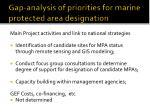 gap analysis of priorities for marine protected area designation34
