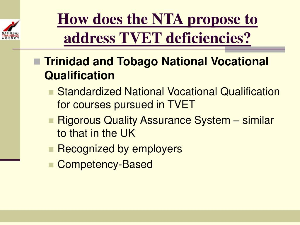 How does the NTA propose to address TVET deficiencies?