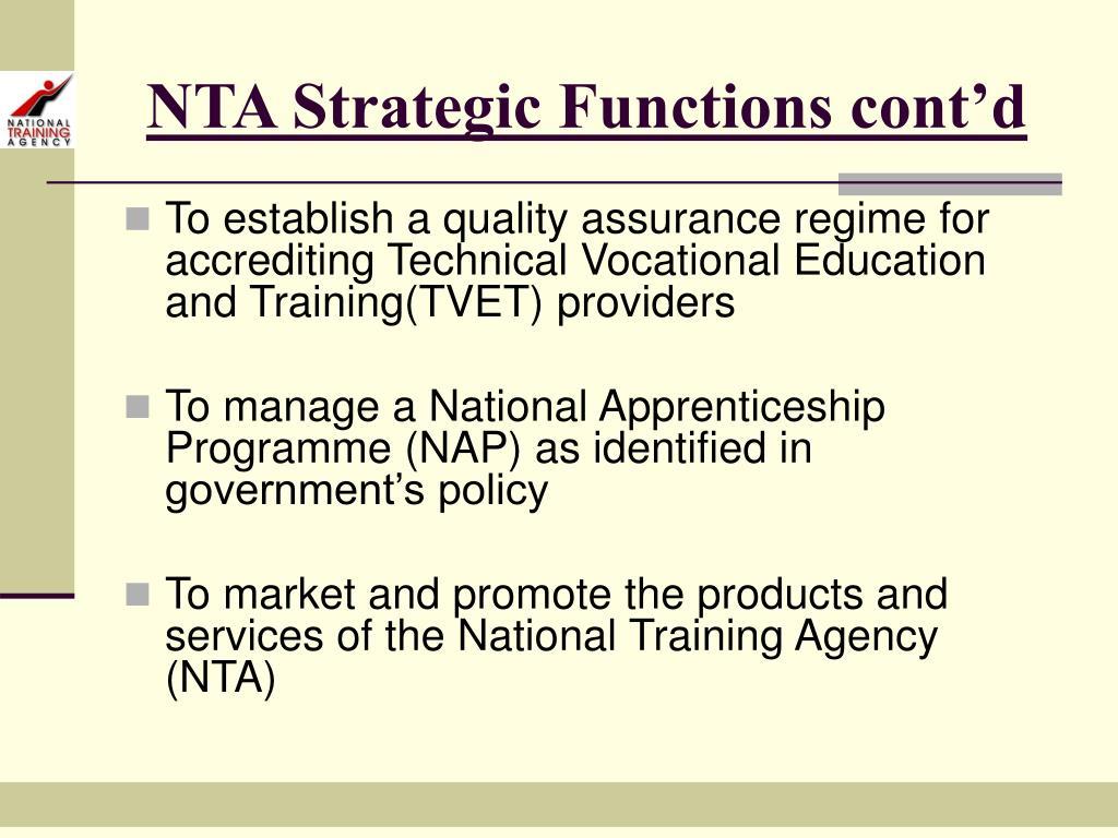 NTA Strategic Functions cont'd