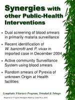 synergies with other public health interventions