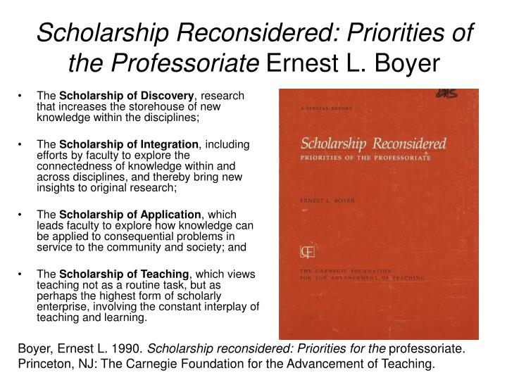 Scholarship reconsidered priorities of the professoriate ernest l boyer
