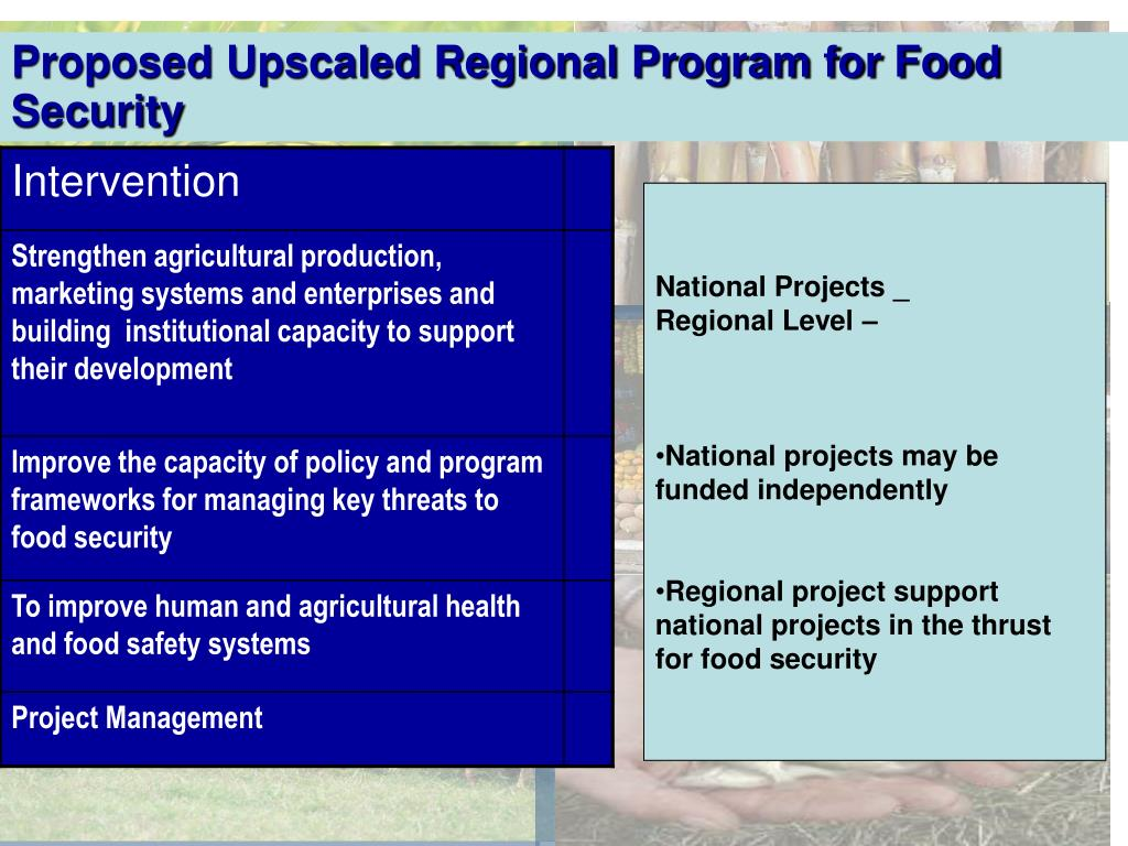 Proposed Upscaled Regional Program for Food Security