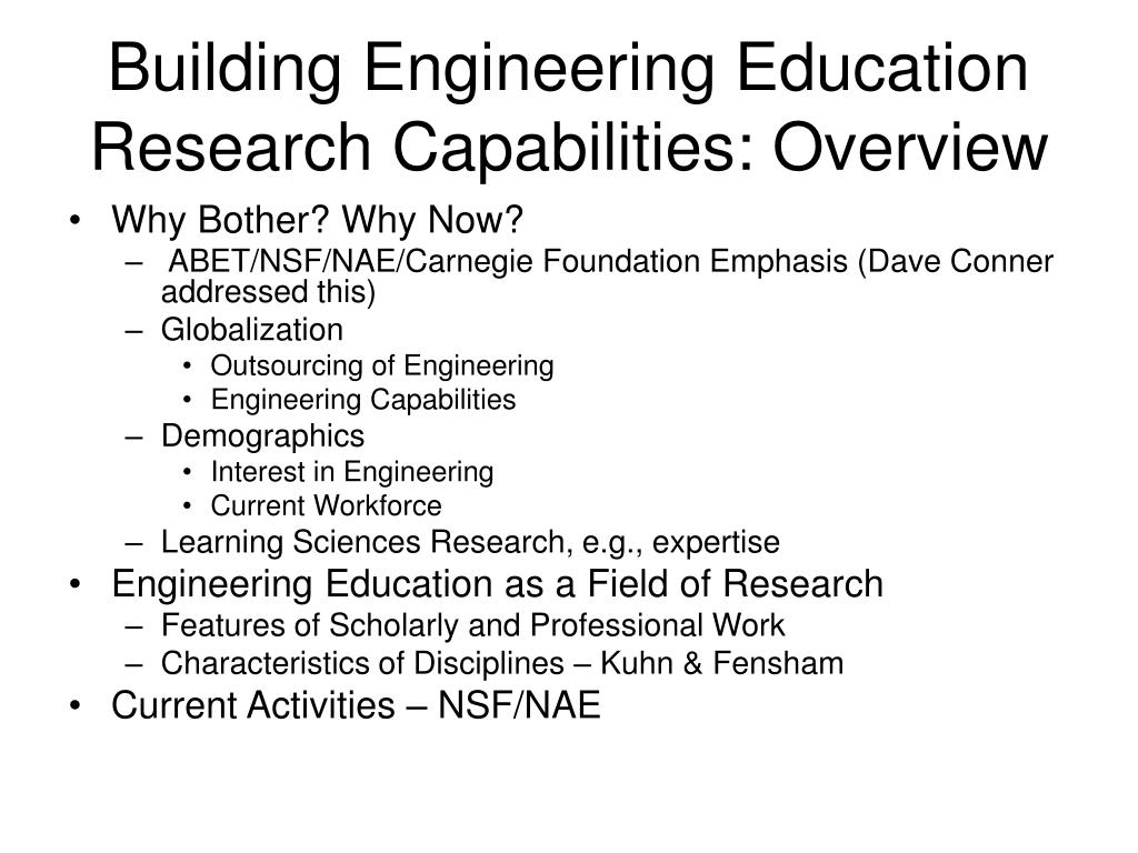 Building Engineering Education Research Capabilities: Overview