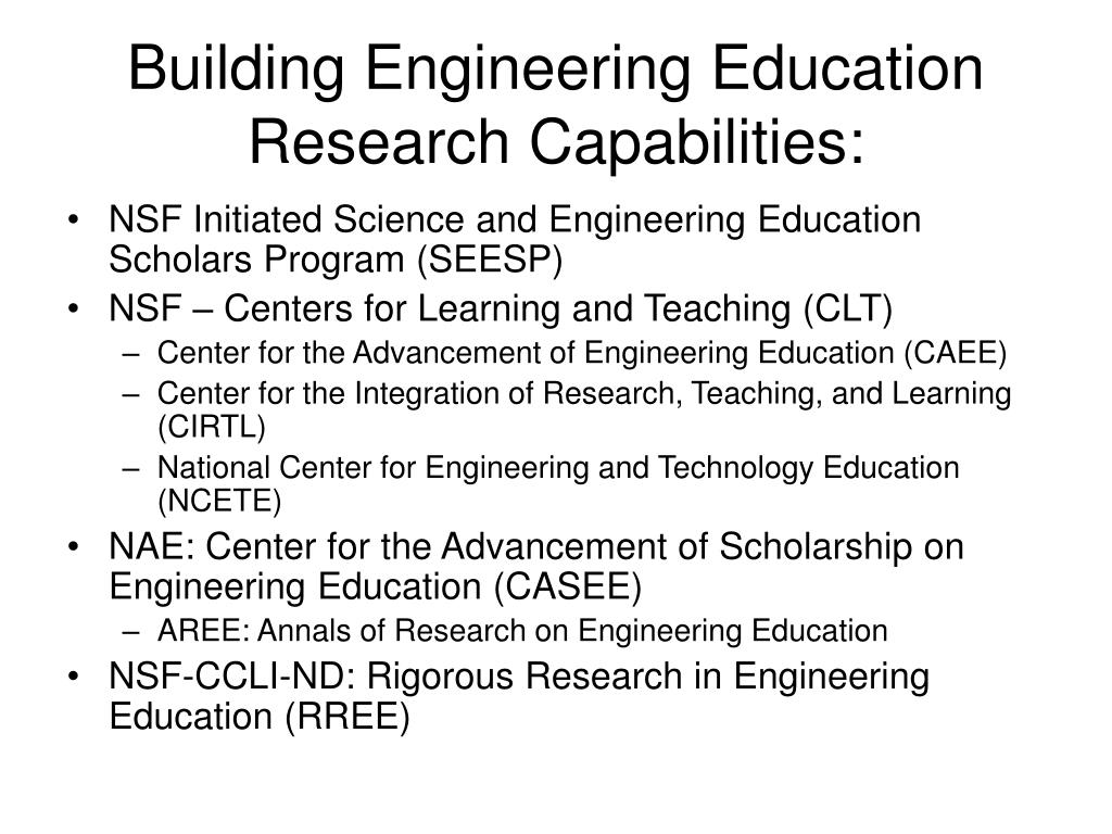 Building Engineering Education Research Capabilities: