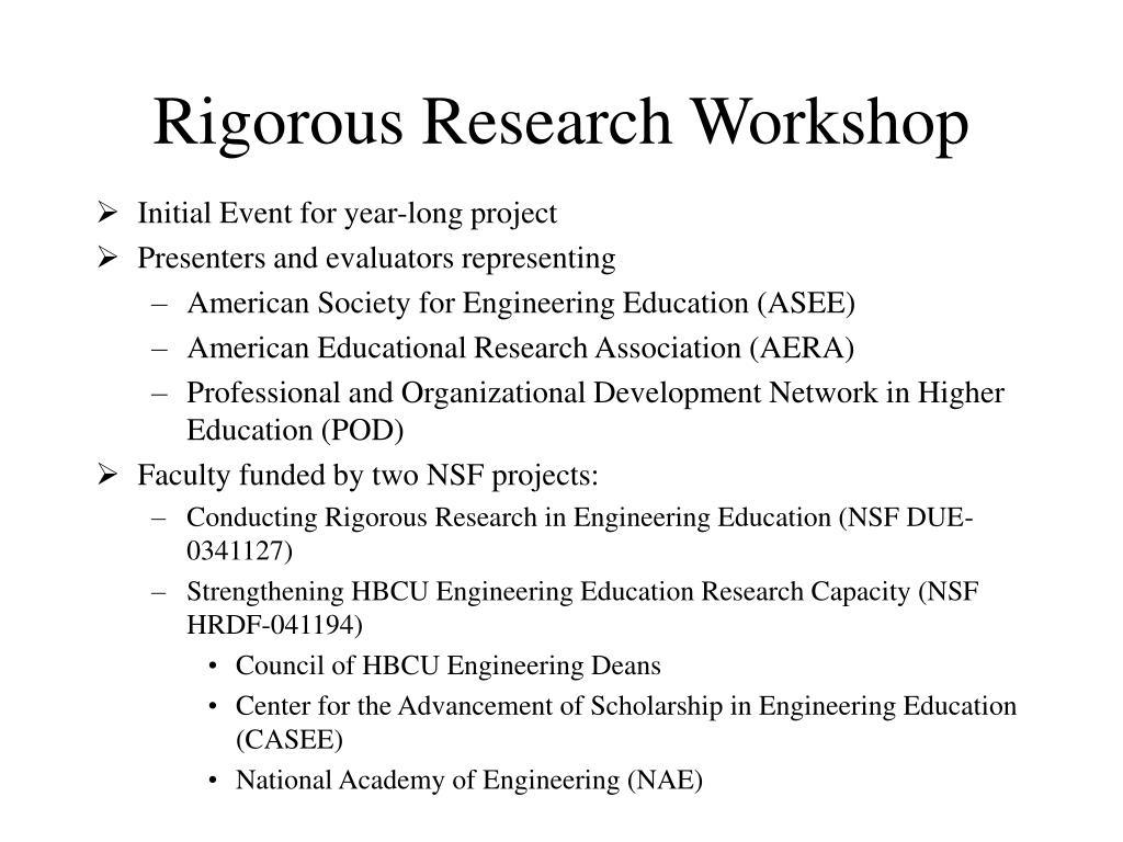 Rigorous Research Workshop