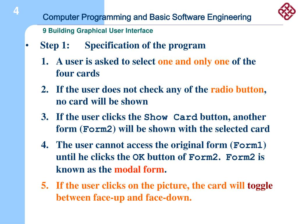 Step 1: 	Specification of the program