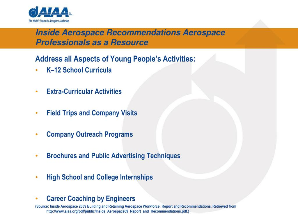 Inside Aerospace Recommendations Aerospace Professionals as a Resource