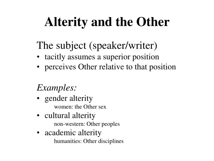 Alterity and the Other