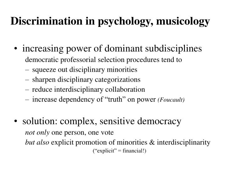 Discrimination in psychology, musicology