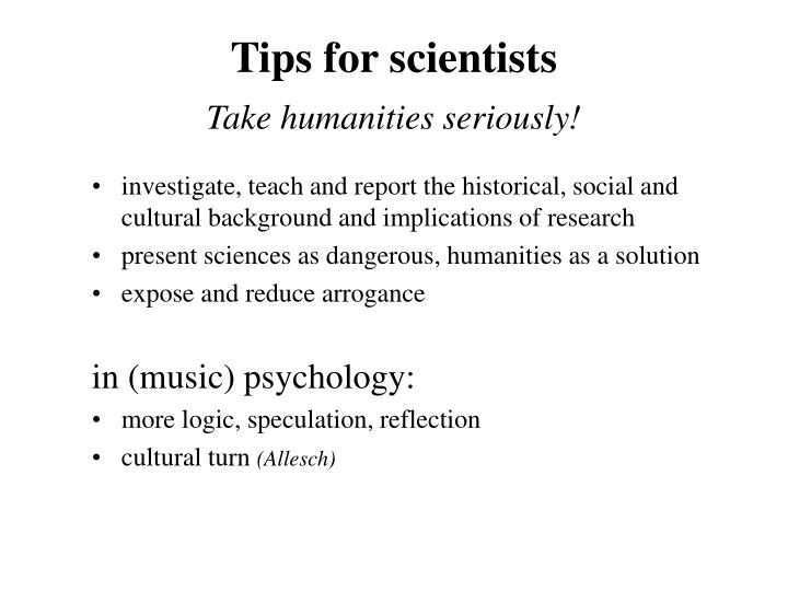 Tips for scientists