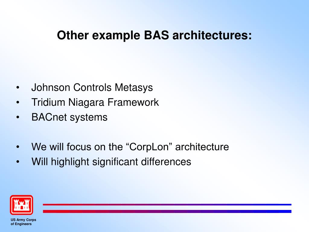 Other example BAS architectures: