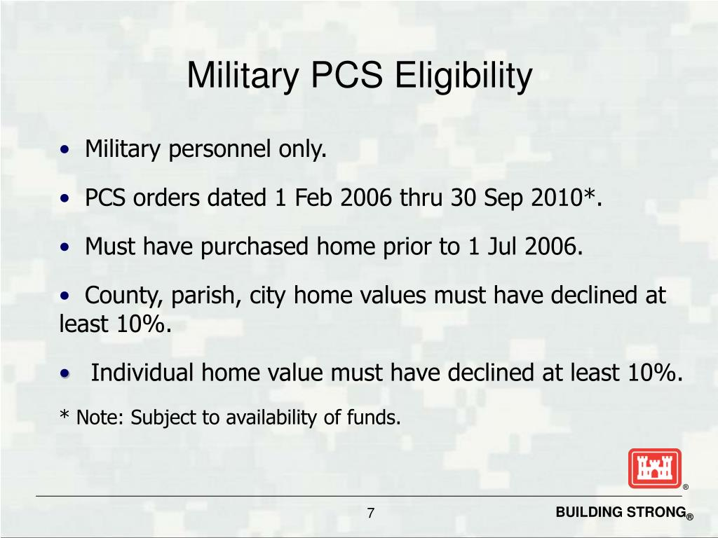 Military PCS Eligibility