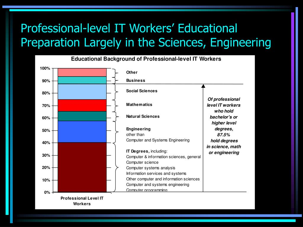 Professional-level IT Workers' Educational Preparation Largely in the Sciences, Engineering