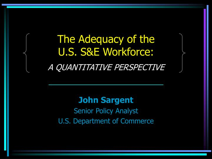 The adequacy of the u s s e workforce a quantitative perspective