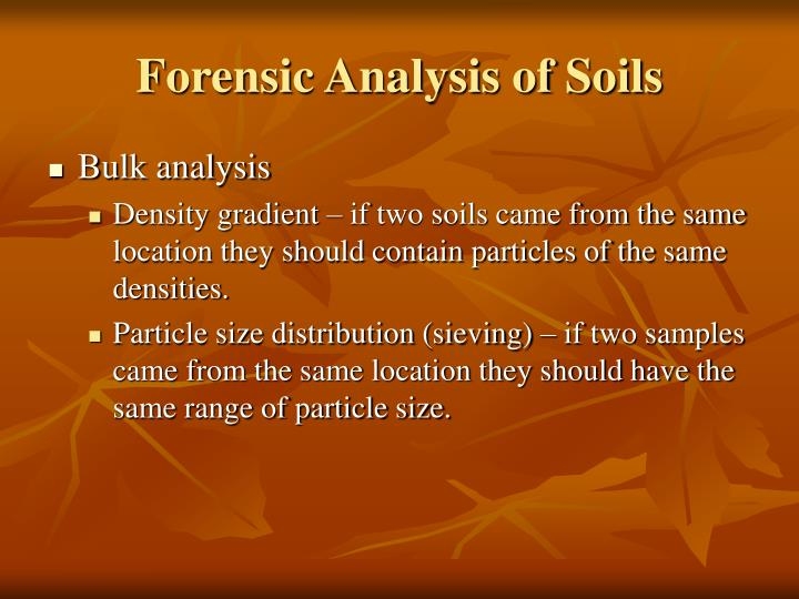 Forensic Analysis of Soils