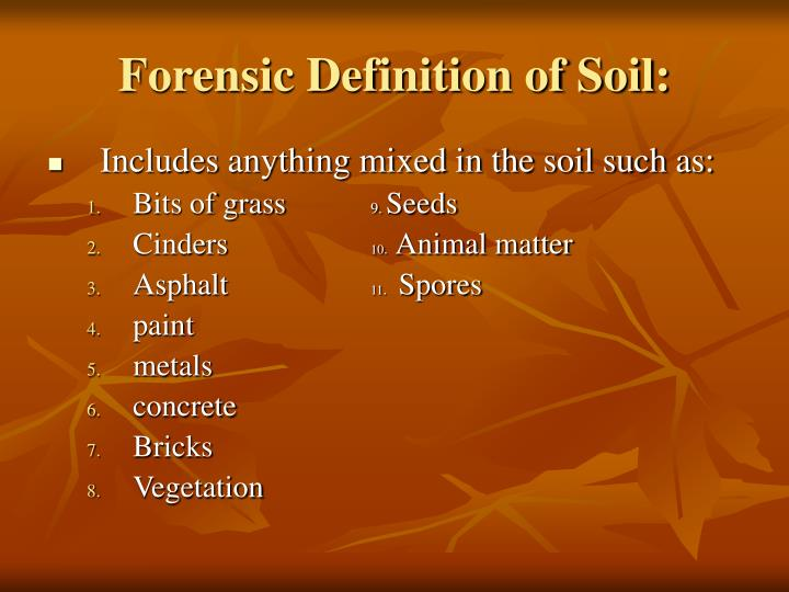 Forensic definition of soil