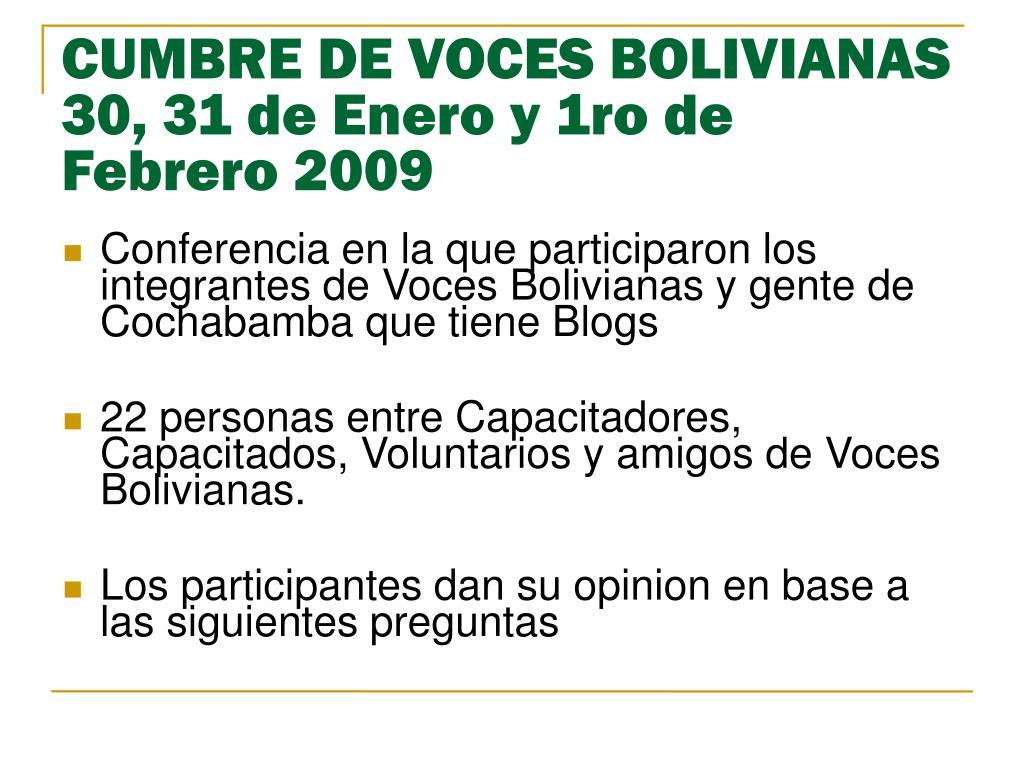 CUMBRE DE VOCES BOLIVIANAS