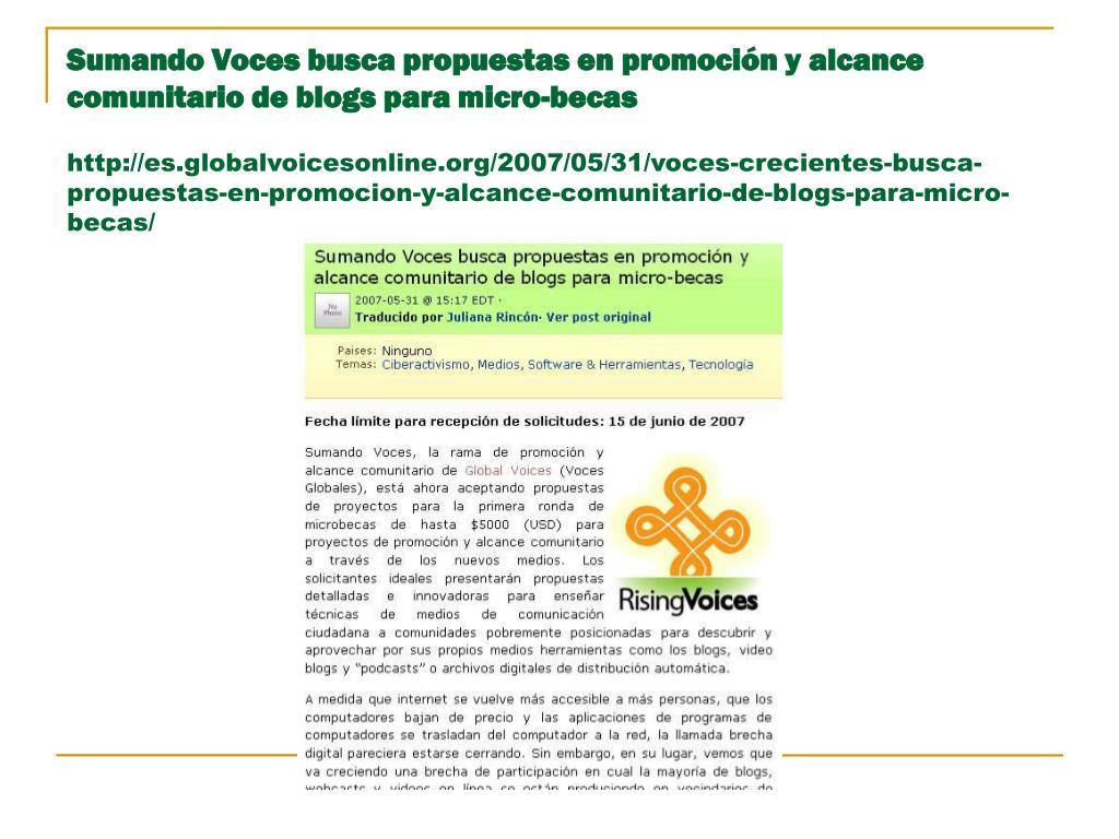 Sumando Voces busca propuestas en promoción y alcance comunitario de blogs para micro-becas