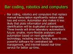 bar coding robotics and computers