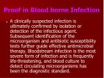 proof in blood borne infection