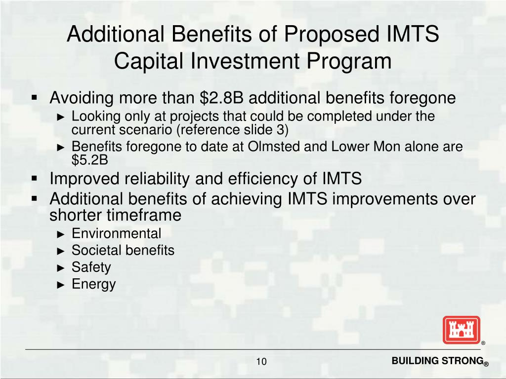 Additional Benefits of Proposed IMTS Capital Investment Program
