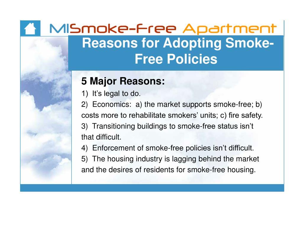 Reasons for Adopting Smoke-Free Policies