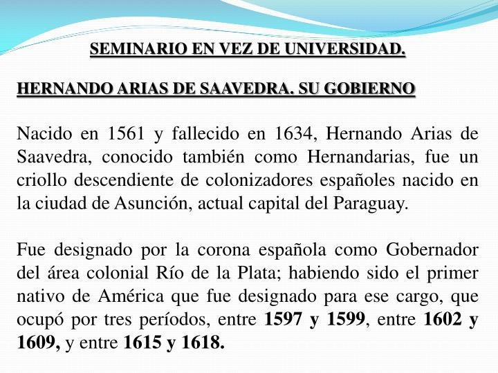 SEMINARIO EN VEZ DE UNIVERSIDAD.
