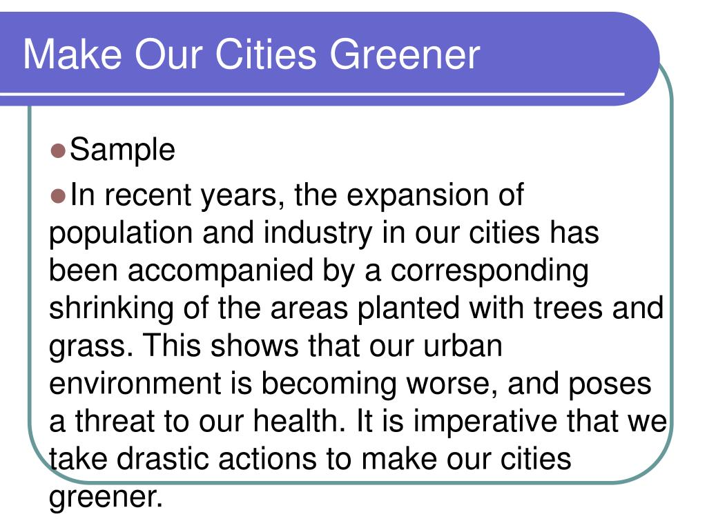 Make Our Cities Greener