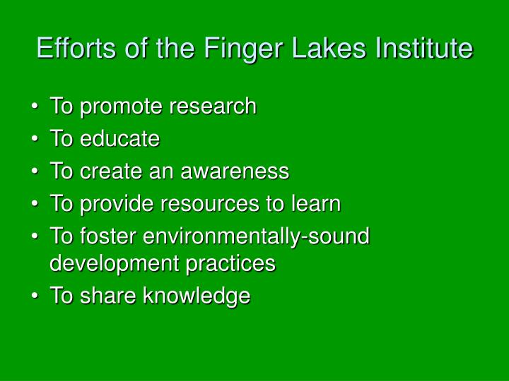 Efforts of the finger lakes institute