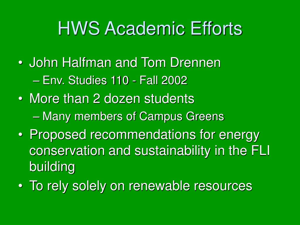 HWS Academic Efforts