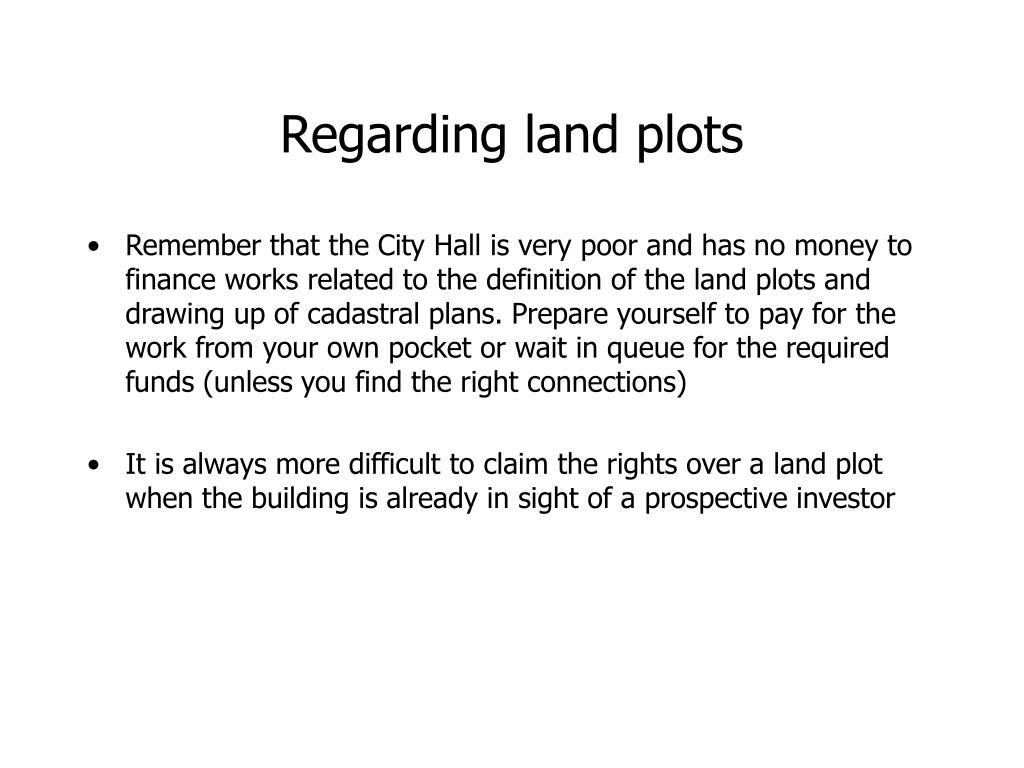 Regarding land plots