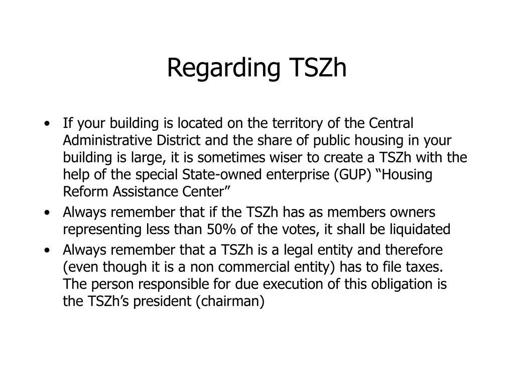 Regarding TSZh