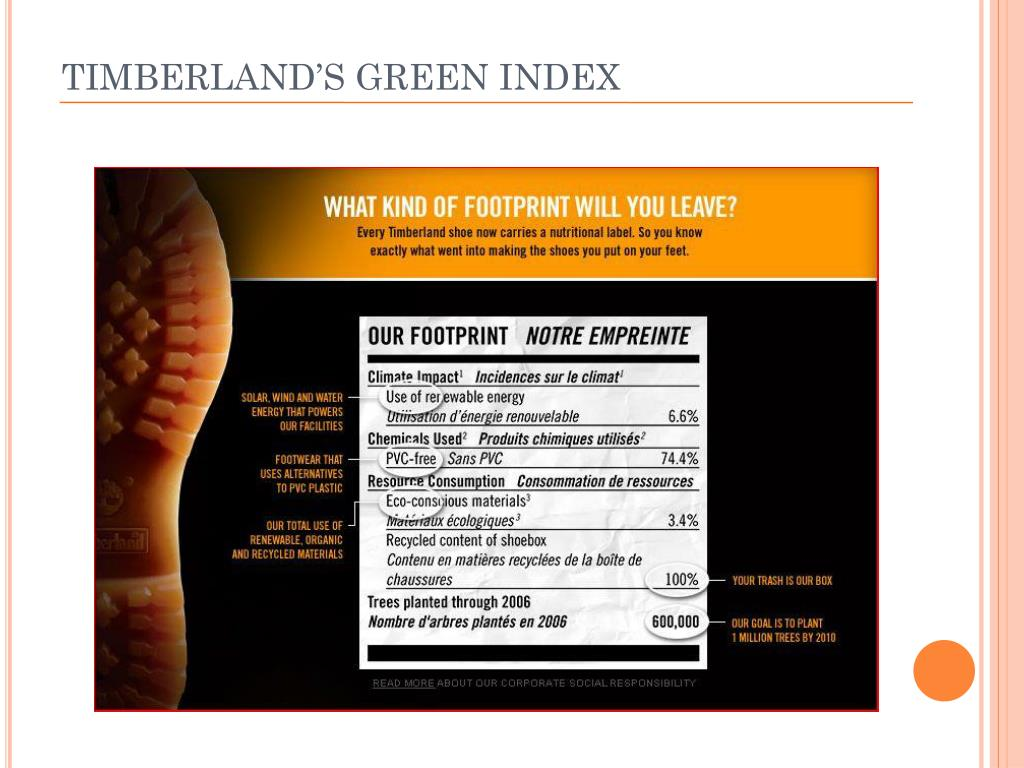 TIMBERLAND'S GREEN INDEX