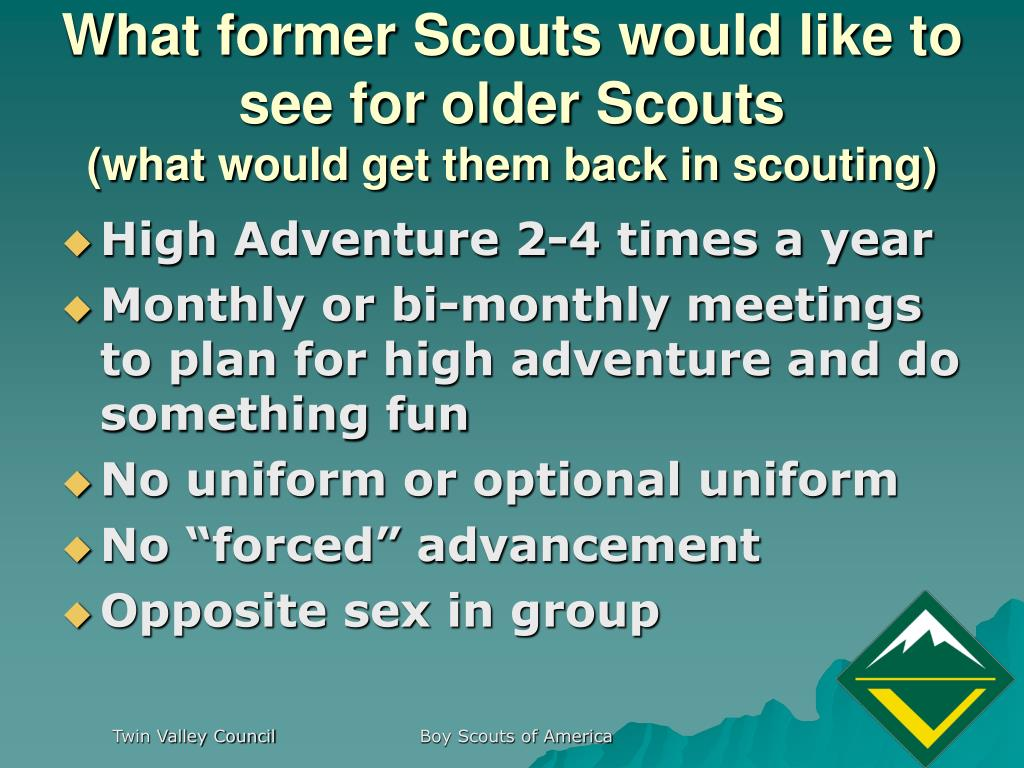 What former Scouts would like to see for older Scouts