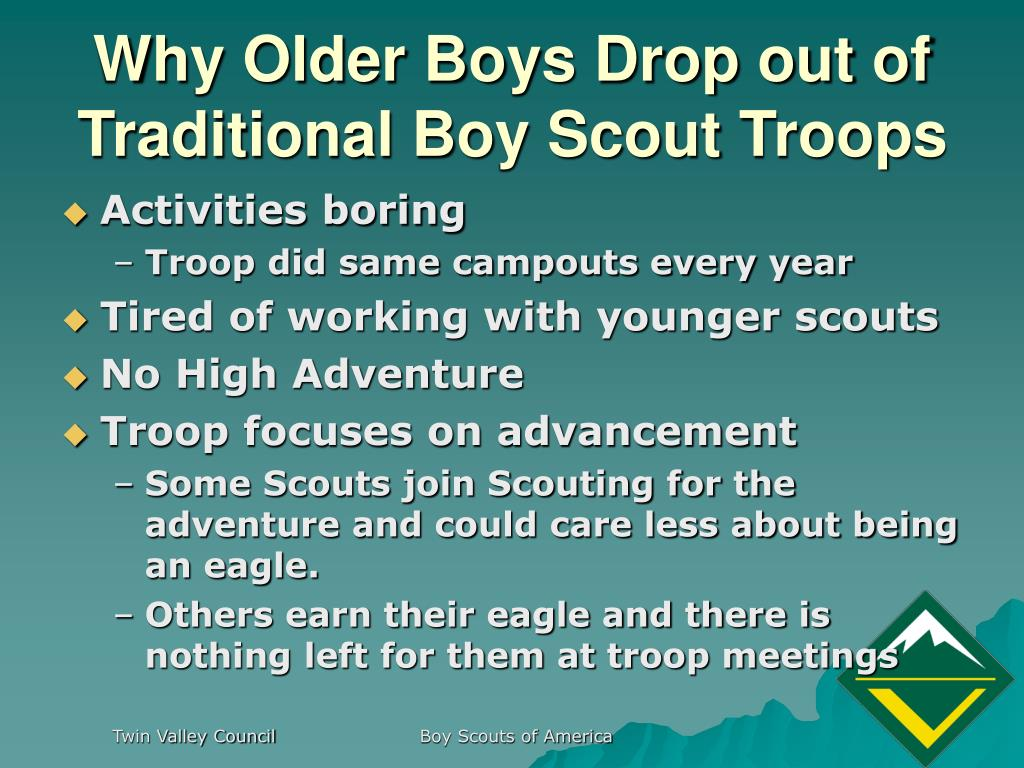 Why Older Boys Drop out of Traditional Boy Scout Troops