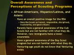 overall awareness and perceptions of scouting programs