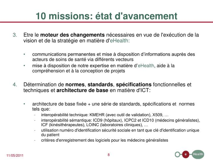 10 missions: état d'avancement