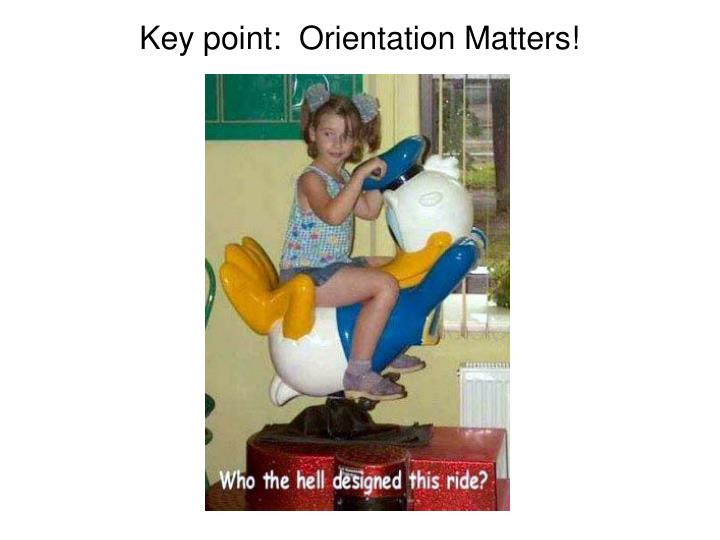Key point:  Orientation Matters!