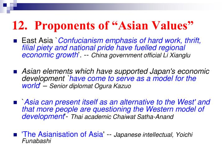 "12.	Proponents of ""Asian Values"""