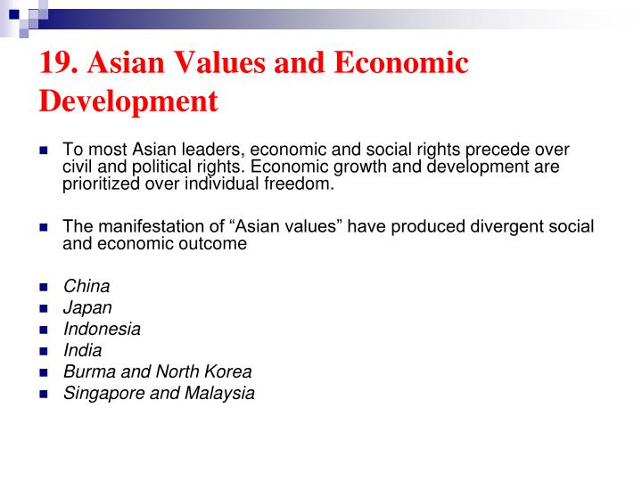 19. Asian Values and Economic Development