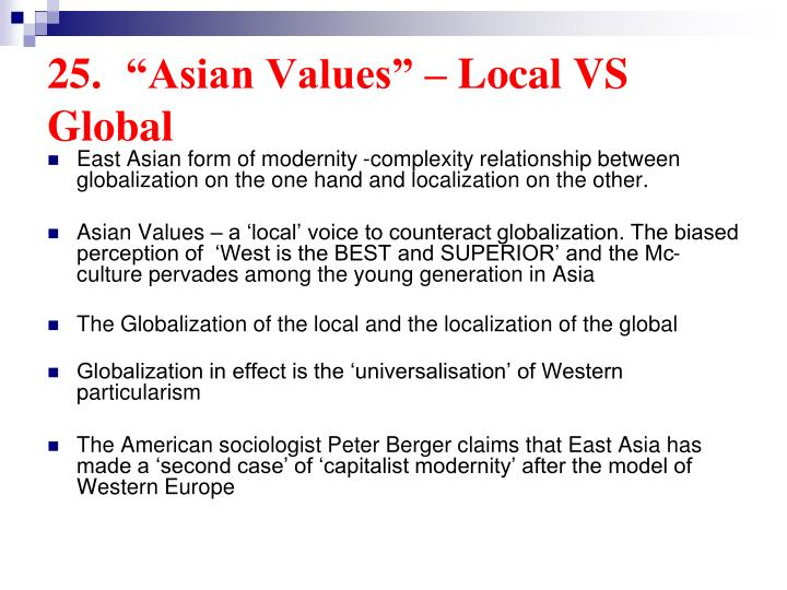 "25.	""Asian Values"" – Local VS Global"