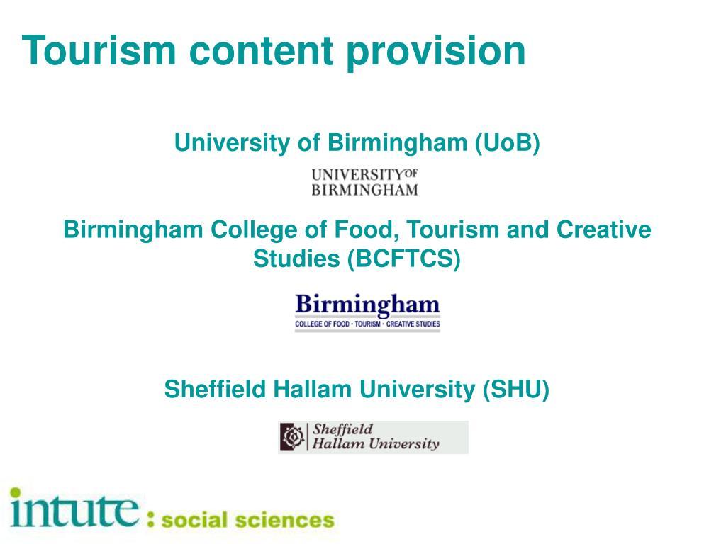 Tourism content provision