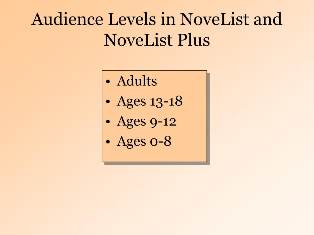 Audience Levels in NoveList and NoveList Plus