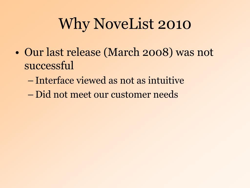 Why NoveList 2010