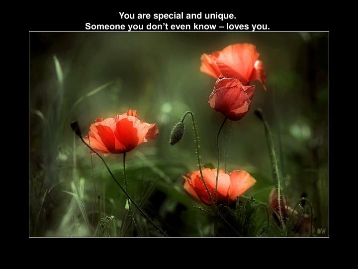 You are special and unique.