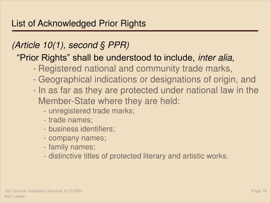 List of Acknowledged Prior Rights