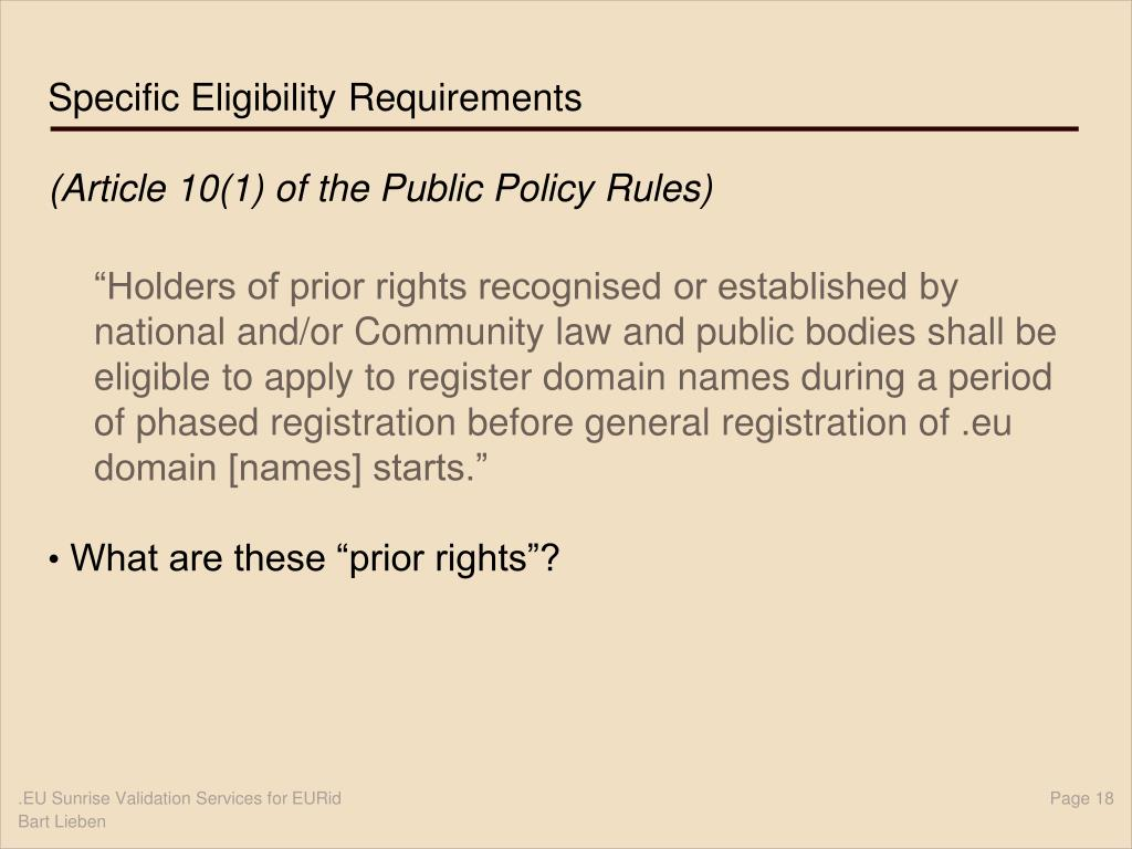 Specific Eligibility Requirements