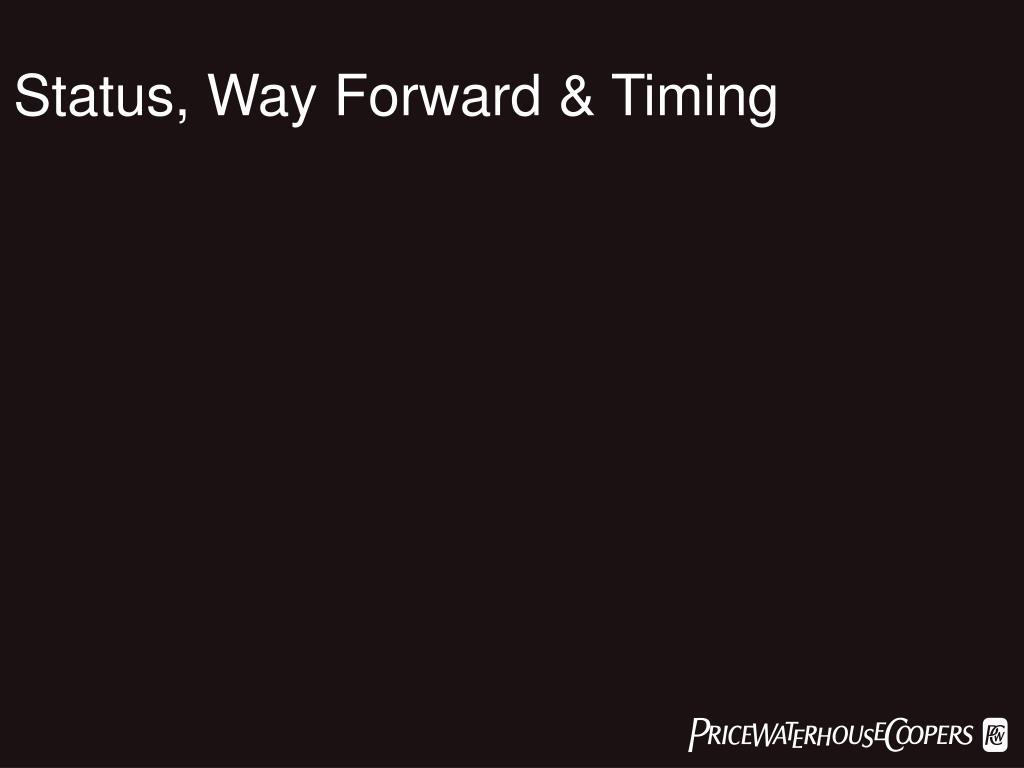 Status, Way Forward & Timing