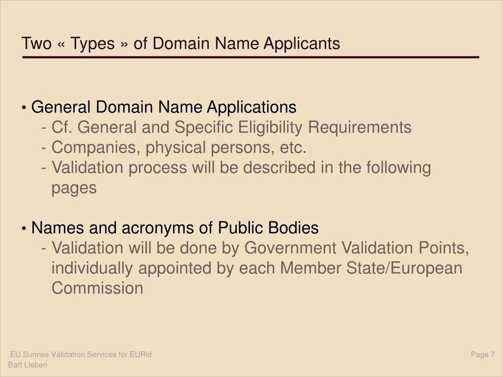 Two « Types » of Domain Name Applicants